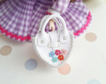 Mini White Leather Fashion Heart Flower Doll Hand Bag For Azone Pure Neemo Pukifee Lati Neo Blythe HandMade