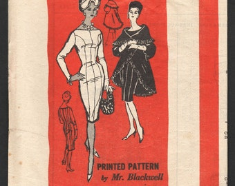 1960s Vintage Sewing Pattern Mail Order A548 Wiggle Dress - Blackwell Princess Sheath Dress, Cape Coat - Size 16 Bust 36 UNCUT