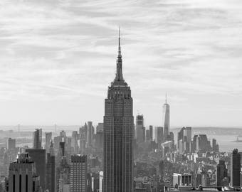 Empire State Building New York City Photography, NYC Manhattan Skyline Architecture Wall Art Wanderlust Black and White Skyscraper Iconic