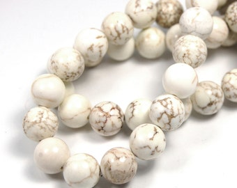 "Two 15"" strands, White Magnesite Beads 10mm"
