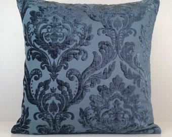 Light or Silverish Navy Blue Pillow, Throw Pillow Cover, Decorative Pillow Cover, Cushion Cover, Pillowcase, Accent Pillow, Velour Blend.