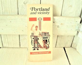 Vintage Portland Oregon map travel city roads folding 1970- free shipping US