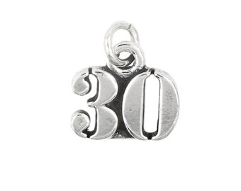 Sterling Silver Number 30 Thirty years Charm
