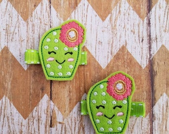 Cactus hair clips, girls hair clips, cactus clippies, clippie set, felt hair clips, cactus hair bows, cactus accessories, cactus gift, clips