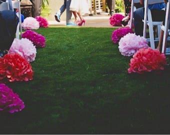 10 CUSTOM COLORS tiisue paper pompoms aisle marker arch arbor vows chair wedding ceremony decorations paper flowers baby bridal shower