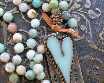 Rustic heart long necklace - She Loves - Bohemian country festival summer Boho jewelry sky blue amazonite knot necklace soldered jewelry