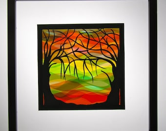 TREES Of LIFE Silhouette Paper Cut Original Design With Yellow Orange Green Red Transparent Background Handmade Framed SIGNED One Of A Kind