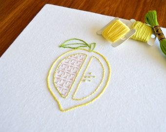 Lemon Split hand embroidery pattern, modern embroidery, fruit design, embroidery patterns, embroidery PDF, PDF pattern