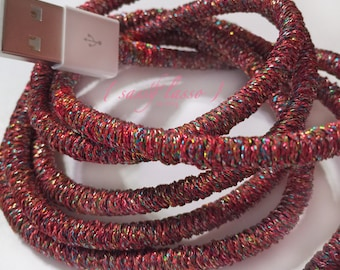 Custom Laced 1M Apple Lightning Cable Charger Cord Wrapped in a Shimmery Kaleidoscope Theme