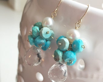 Whitecaps Earrings, Turquoise, Freshwater Pearl, Crystal Quartz Briolettes on 14K Gold Fill Wires