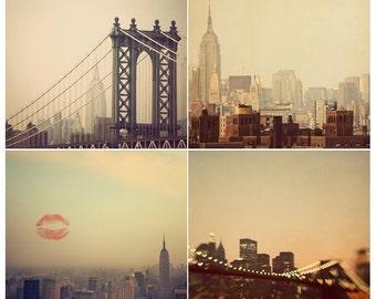 "SALE  New York Prints, Wall Art, NYC Photography Prints, New York Skyline, Set of 4 Art Prints, Travel Photography ""I Love New York"""