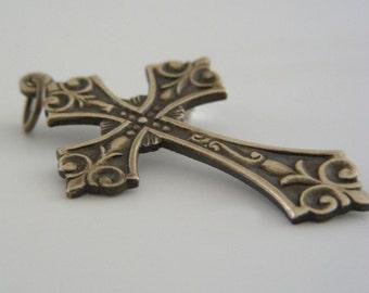 CROSS Pendant Vintage Brass for Necklace - 2 pcs