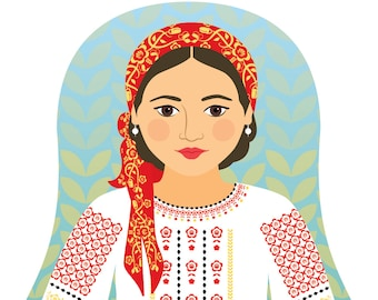 Moldovan Wall Art Print features cultural traditional dress drawn in a Russian matryoshka nesting doll shape