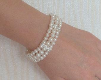 Jennie- Freshwater Pearl and Rhinestone Bridal Bracelet