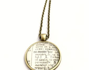 REMEMBER Vintage Dictionary Word Pendant