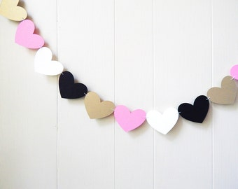 Nursery Wall Accent / Heart Garland / Wedding Decoration / Love Bunting / Love Decor / Photo Prop / Heart Bunting / Adjustable Hand Sewn