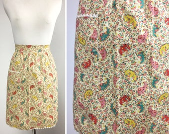 Paisley Floral Apron - Pink, Yellow, Teal, Red Paisleys and Tiny Flowers on Biege - White Rick Rack Trim and Pocket - 60s Vintage Half Apron