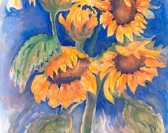 Sunflowers Galore ORIGINAL WATERCOLOR Oversized Wall art Sunny Day Garden Flowers  yellow summertime watercolour 14x21