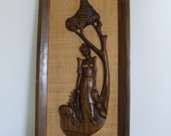 Vintage Mid Century, Carved Wall Hanging
