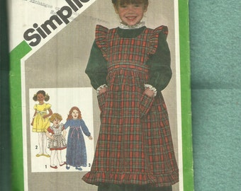 1980's Simplicity 9818 Prairie Chic Ruffled Pinafore & Puff Sleeve Dress for Girls  Size 5