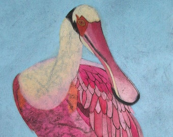 Roseate Spoonbill 5 - Original Fine Art Collograph Print, Pink Wading Bird