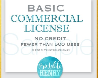 One (1) Basic Commercial Use License / add-on item goes with one digital clipart listing / PrintableHenry - up to 500 unit sales