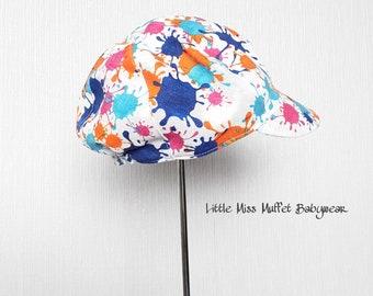 Children's Newsboy Cap, Boys Hat, Newsboy Cap, Summer Hat, Sun Hat, 6-7 yrs, Blue Splash, Children's Hat, Boys Cap, Boys Sun Cap, Summer Cap