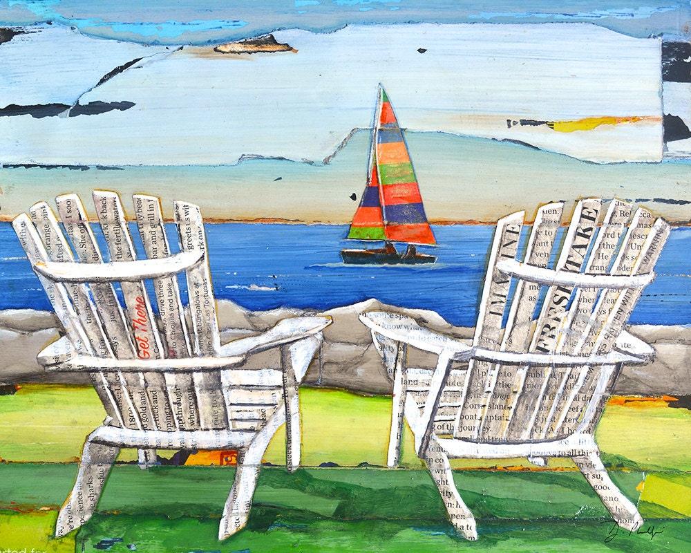 Adirondack Chairs Sailboat Beach Lake ART PRINT or CANVAS