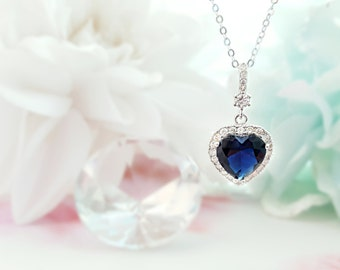 Sapphire Heart Necklace Silver- Blue Heart Necklace - Romantic Gift For Her - Dark Blue Birthstone Heart Necklace - Blue CZ Diamond N2011