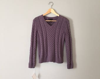 dark lilac cotton sweater   cable knit pullover   V neck braided cotton crop sweater