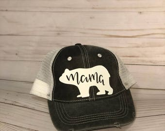 Mama Bear Trucker Hat, Mama Hat, Mom Hat, Hats for Moms, Gifts for moms, bear, Mama bear charcoal trucker hat, Mama Bear Hat