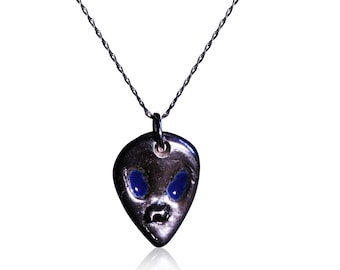 Enamelled Solid Silver Alien Necklace - Set With Iron Meteorite - NEW!