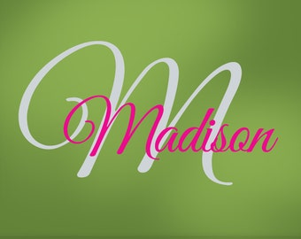 Girls Monogram Vinyl Wall Decals, Name & Initial for Your Bedroom Decor, Baby Nursery, Toddler, Custom Wall Art, Shown: Madison (0179c7v)