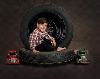 Digital backdrop, background newborn  baby girl or boy sitter toddler , dark gray mechanic  tire tires