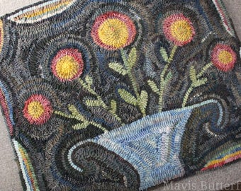 Rug Hooking Pattern Flowers for Lucy {Large}  on Linen or Paper