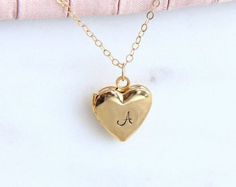 Personalized Heart Locket, Locket Necklace, Initial Locket, Gold Heart Locket, Personalized Necklace, Initial Necklace, Gift for Women Girl