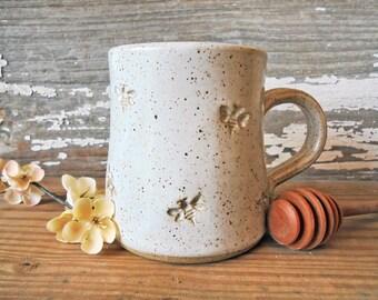 Bee Mug - Handmade Pottery Bee Mug - White Bee Mug - Tea Cup - Stoneware Mug - Coffee Cup - MADE TO ORDER