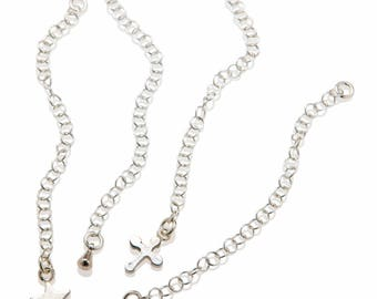 Wholesale 5 Extender Chains 925 Sterling Silver , Chain Extender , Tear Drop Bulk Necklace Extensions