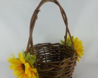 Sunflower Wedding Basket Vintage Sunflower Wedding Flower Girl Baskets Sunflower Wedding Decor Sunflower Wedding Sunflower Wedding Basket