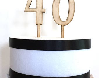 Wood Number Cake Topper, Birthday Cake Topper, Anniversary cake topper, Wood cake topper,