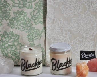 Gift Set: Succulent Print Tea Towel Set + Candle Set, You Choose The Scent