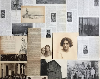 French Vintage Paper pack, Ephemera Bundle with illustrations, portraits, postcards, soldiers, French news clipings