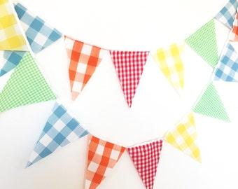 Vintage Gingham Bunting, Fabric Garland Flags, Yellow, Red, Green, Orange, Blue, Birthday Party, Wedding Decor, Baby Nursery