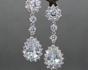 Crystal Bridal Earrings Rhinestone Earrings Teardrop  Crystal Earrings Crystal Drop Earrings Rhinestone Wedding Jewelry for brides