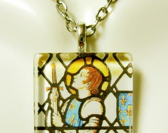 Saint Joan of Arc stained glass window pendant with chain - GP02-165