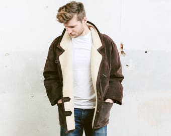 Brown Suede Coat . Mens Vintage 70s Faux Sherpa Coat Winter Suede Leather Brown Jacket Overcoat Outerwear Long Jacket . size Large L