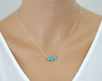 Turquoise necklace, Gemstone necklace, Beach wedding jewelry, Bridesmaid necklace, bridesmaid gift