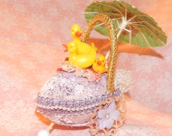 Antique Handmade Easter Decoration Flocked and Glittered Egg ,metal wheels,Plastic Duck Figures and Flowers