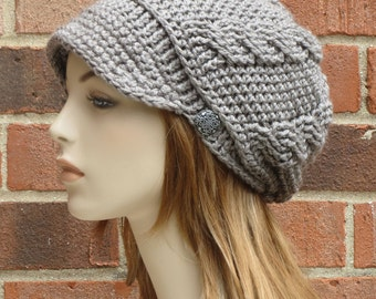 Crochet Newsboy Hat - Womens Taupe Hat - Slouchy Newsboy Beanie Button Hat - Crochet Cabled Hat with Brim - // THE ADDISON //