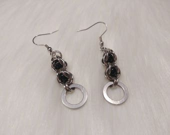 Stainless Steel Symbolic O Ring Earrings with Captive Swarovski Black Pearl Beads, BDSM Jewelry, DDLG